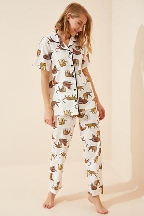 Happiness İst. Kadın Beyaz Kaplan Desenli Pijama Takımı GL00043