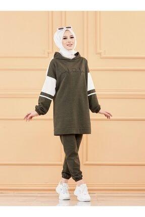 TOFİSA Kadın Haki  Kapüşonlu Tunik Pantolon Ikili Takım