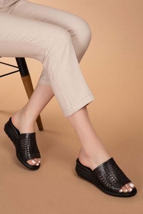 Gondol Kadın Siyah Sim Hakiki Deri Simli Dolgu Topuk Terlik Ayh.11