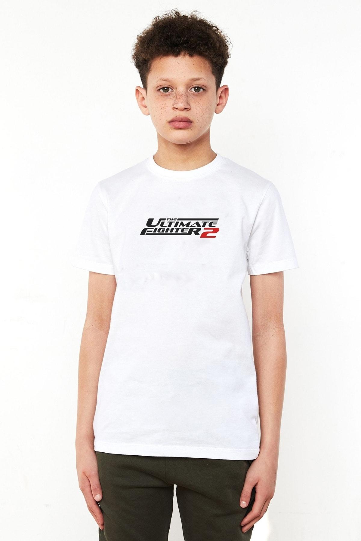 QIVI Unisex Çocuk Beyaz Ufc Ultimate Fighting Championship Baskılı Tshirt 1