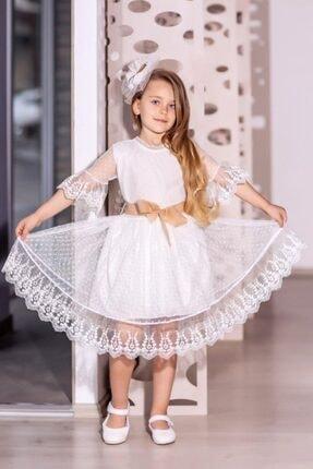 Riccotarz Kız Çocuk Ekru  Prenses Güpürlü Çantalı Elbise