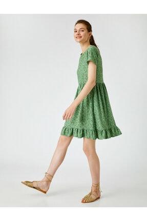 Koton Kadın Yeşil Çiçekli Elbise