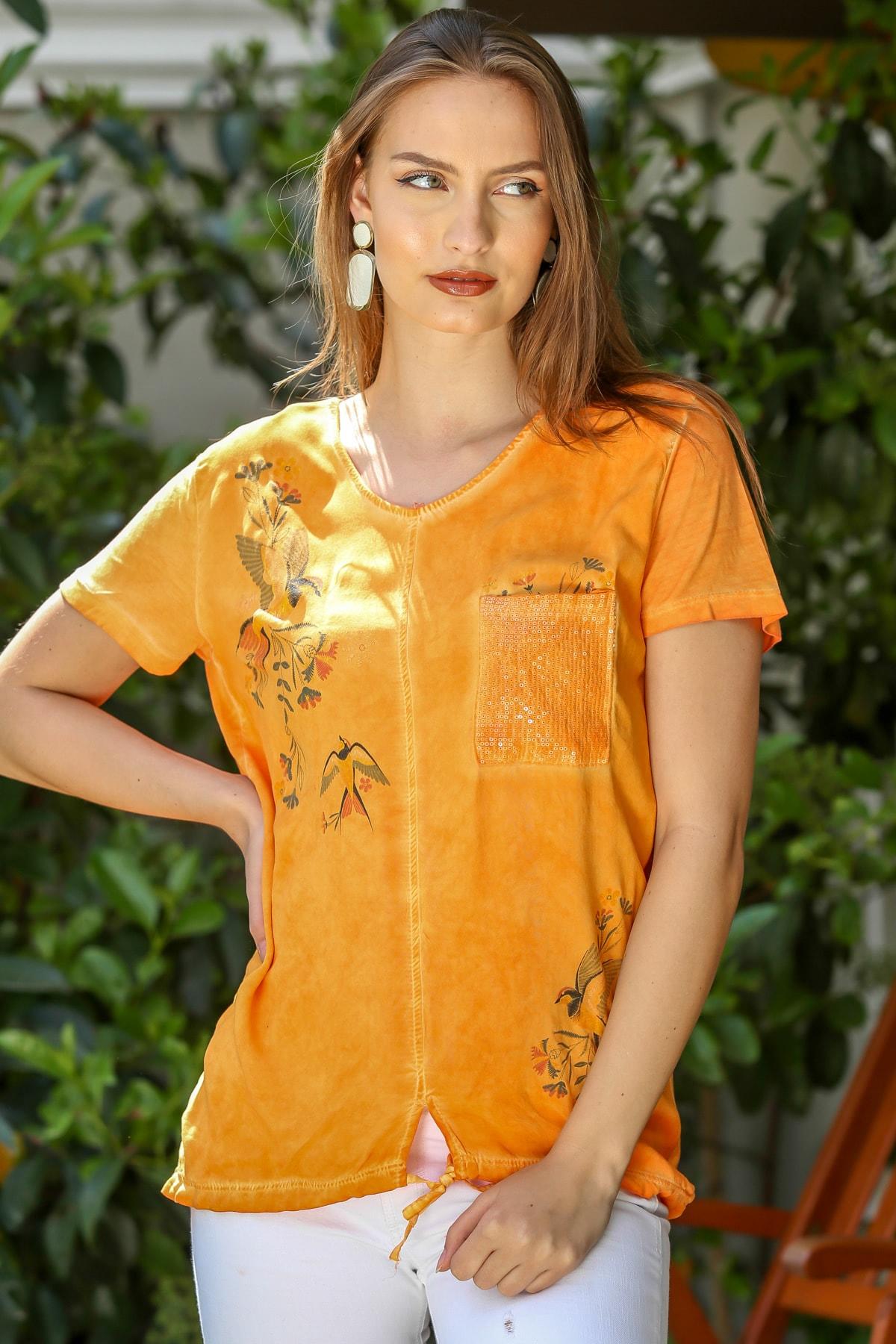 Chiccy Kadın Turuncu Kırlangıç Kuşu Baskılı Pullu Cepli Etek Ucu İp Bağlamalı Dokuma Bluz M10010200BL95288