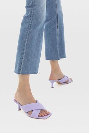 Stradivarius Kadın Leylak Rengi Dolgulu Topuklu Sandalet 19200770