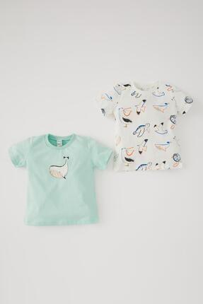 DeFacto Erkek Bebek Balina Baskılı Pamuklu 2'li Paket Kısa Kollu Tişört