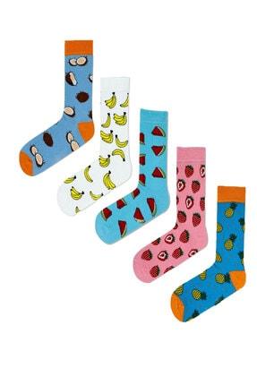 MVS NEWAGE 5'li Detox Meyveli Desenli Renkli Çorap Seti