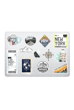 Marcador Travel Seyahat Temalı Laptop Notebook Tablet Sticker Seti 12 Adet