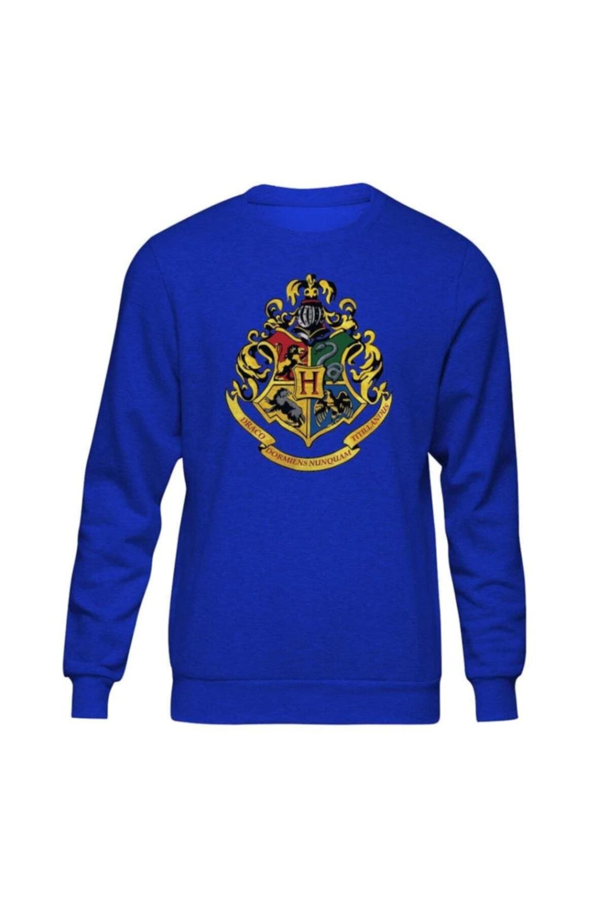 Fandomya Unisex Mavi Harry Potter Hogwarts II Sweatshirt 1