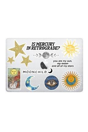 Marcador Celestial Mistik Temalı Laptop Notebook Tablet Sticker Seti 12 Adet