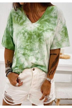 ELBİSENN Yeni Model Kadın V Yaka Batik Basic Tshırt (yeşil)