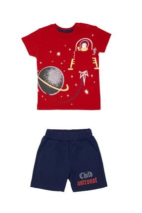 Pattaya Kids Erkek Bebek Kırmızı Astronot Baskılı 2li Takım
