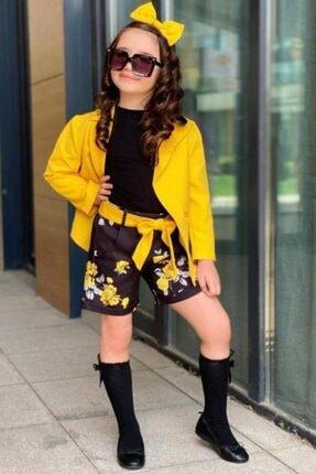 Riccotarz Kız Çocuk Blazer Ceketli Rose Sarı Şortlu Takım