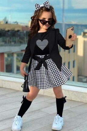 Riccotarz Kız Çocuk Siyah Blazer Ceketli Kazayağı Etekli Takım