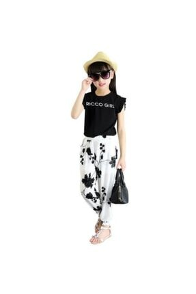 Riccotarz Kız Çocuk Ricco Girl Astarlı Şifon Beyaz Pantolonlu Takım