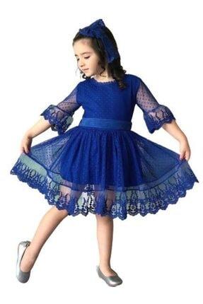 Riccotarz Kız Çocuk Mavi Prenses Güpürlü Saks Elbise