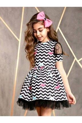 Riccotarz Kız Çocuk Siyah Flamingo Desenli Tül Detaylı Çizgili Elbise