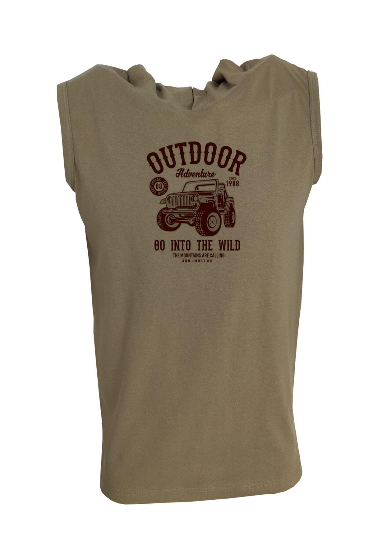 Raf Coll Unisex Haki Baskılı Kapşonlu Kolsuz  T-shirt 1