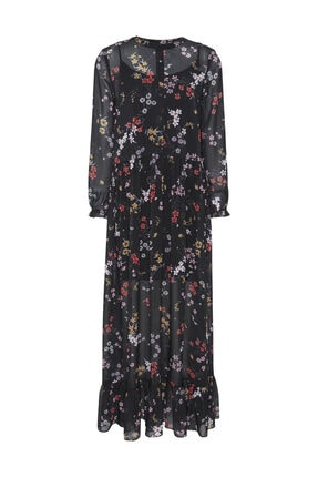 Tommy Hilfiger Kadın Siyah Elbise Tjw Ruffle Maxi Dress DW0DW07195