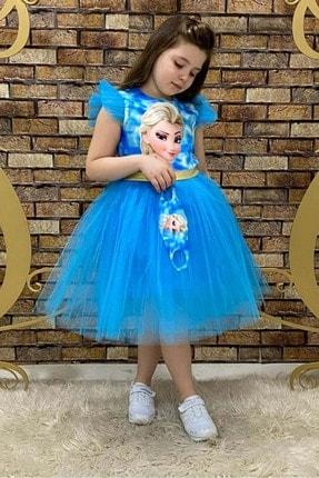 Buse&Eylül Bebe Kız Çocuk Mavi Maske Hediyeli Elsa Parti Elbisesi