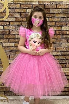 Buse&Eylül Bebe Kız Çocuk Pembe Maske Hediyeli Elsa Parti Elbisesi