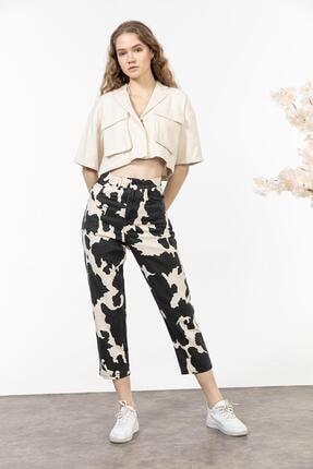 yourname collection Kadın Siyah Desenli Gabardin Pantolon