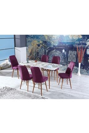NizzaLife Life Yemek Masası Mutfak Masası Açılır Masa Takımı 6 Sandalyeli