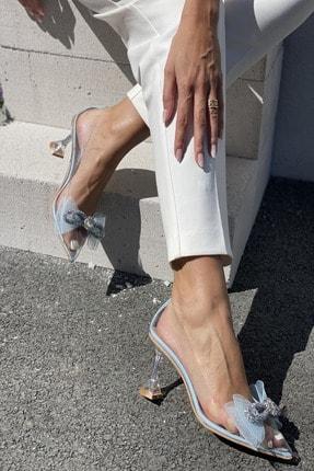 İnan Ayakkabı Kadın Mavi Fiyonk Detaylı Şeffaf Topuklu Ayakkabı