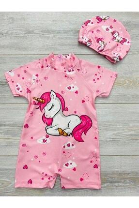 pijama moda Kız Çocuk Pembe Unicorn Desenli Güneş Korumalı Tam Vücud Mayo