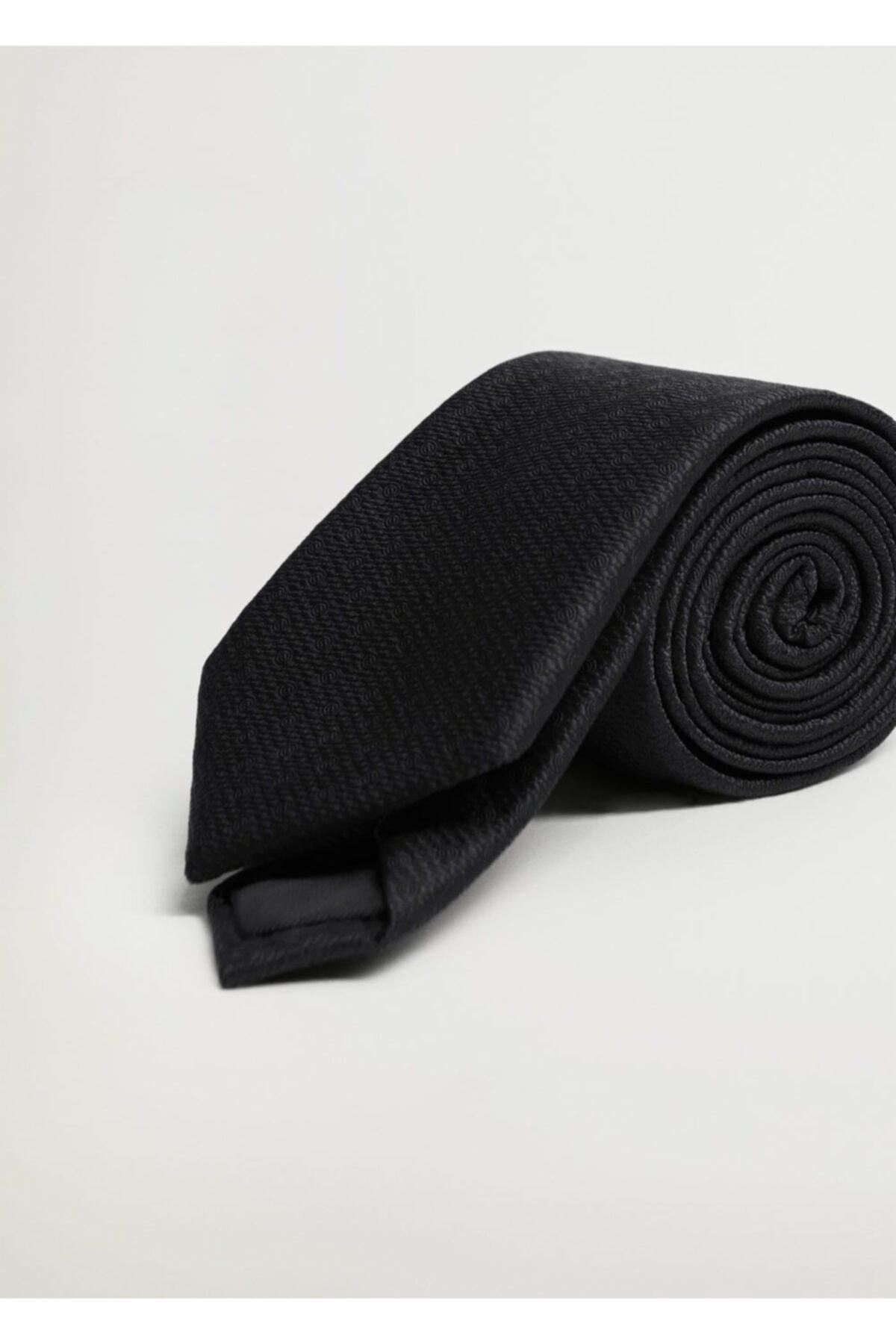 MANGO Man Erkek Siyah Geometrik Baskılı Kravat 1