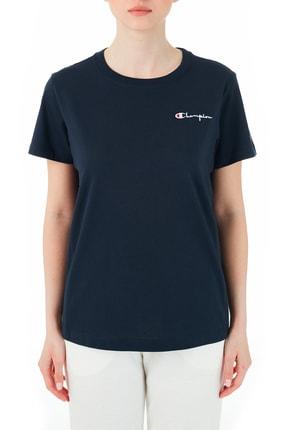 Champion Kadın Lacivert Logolu Bisiklet Yaka T-Shirt 112195 Nny Bs501