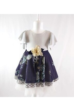 ÖFİ Kids Kız Çocuk Mavi Dantelli Çiçekli Simli Elbise