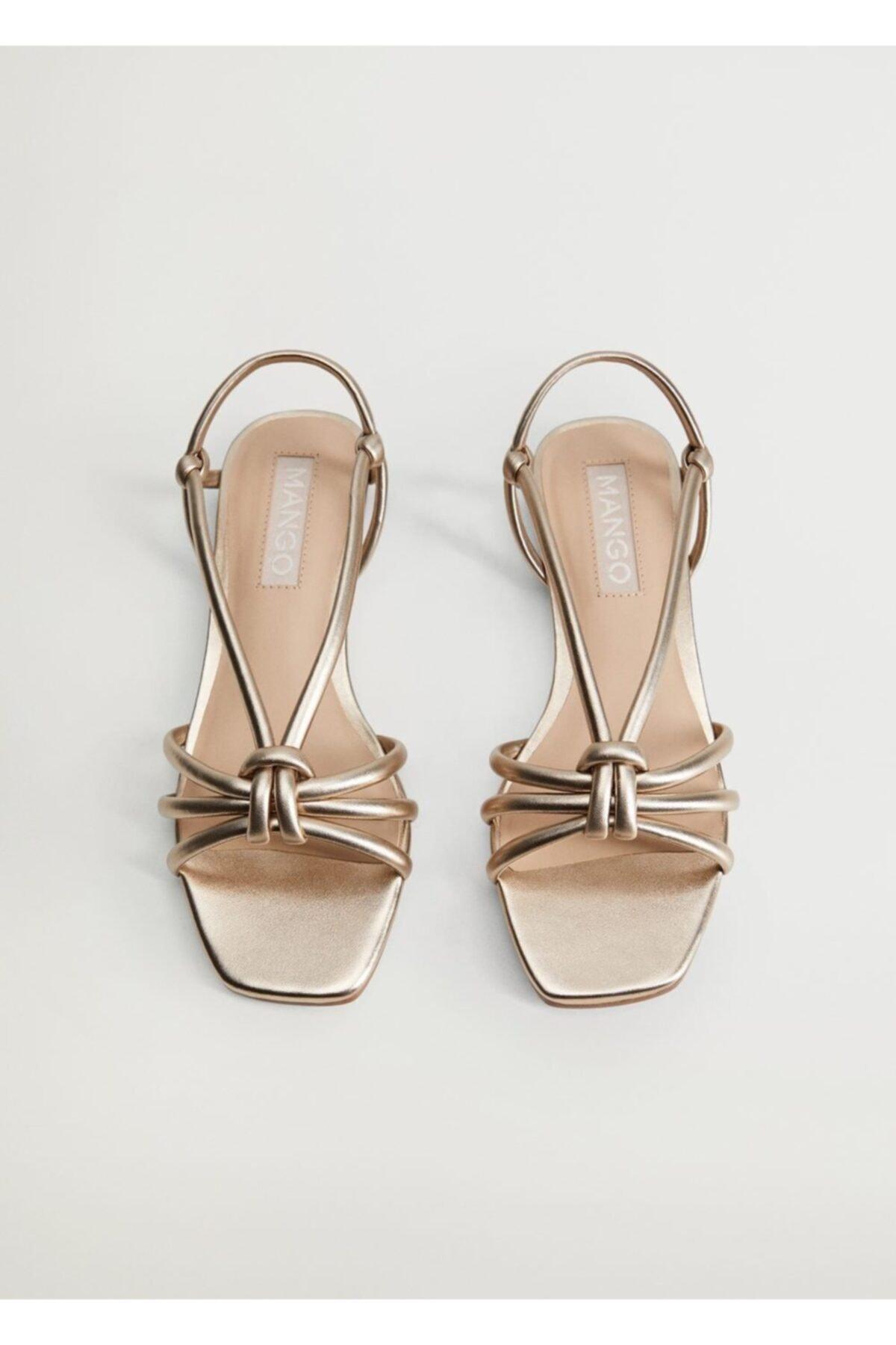 MANGO Woman Metalik Bantlı Sandalet 2
