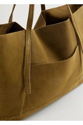 MANGO Woman Kadın Haki Deri Shopper Çanta