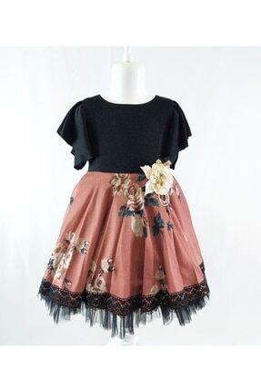 ÖFİ Kids Kız Çocuk Pembe Dantelli Çiçekli Simli Elbise