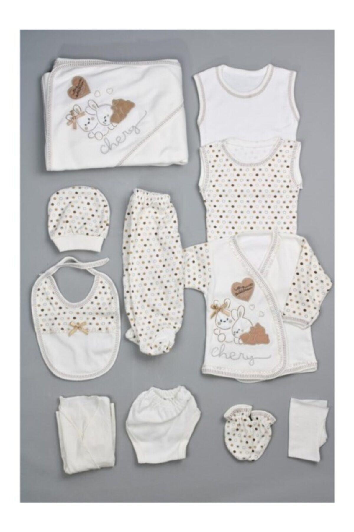 Bombinoo Unisex Bebek Beyaz Real 26 Tavşan Resimli 11li Yenidoğan Hastane Çıkış Seti 1