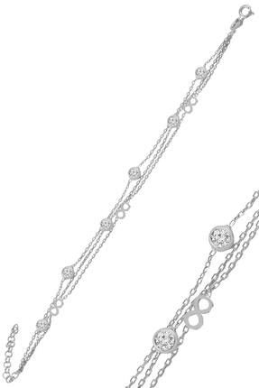 Söğütlü Silver Gümüş Rodyumlu Zirkon Taşlı Sonsuz Figürlü Bileklik