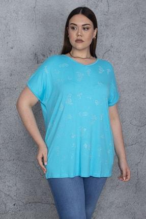 Şans Kadın Turkuaz Taş Detaylı V Yaka Düşük Kollu Bluz 65N24326