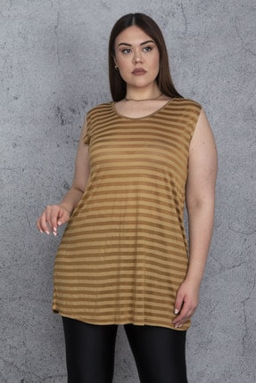 Şans Kadın Safran V Yakalı Kolsuz Bluz 65N24420