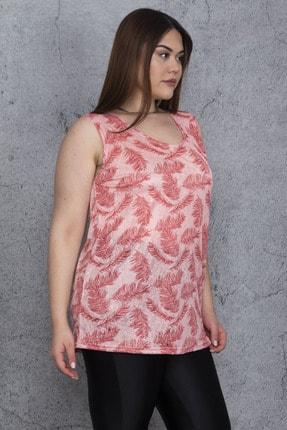 Şans Kadın Somon İnce Viskon Kumaş Desenli Kolsuz Bluz 65N24405