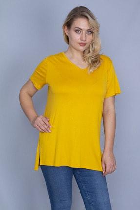 Şans Kadın Sarı V Yakalı Yan Yırtmaçlı Bluz 65N24246