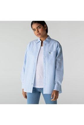 Lacoste Kadın Çizgili Mavi Gömlek CF0522