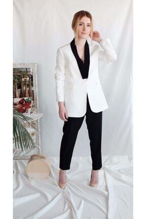 Euznour Kadın Beyaz Krep Kumaş Pantolon Ceket Takım