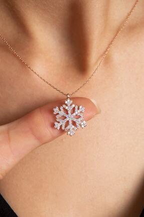 LOTUS GÜMÜŞ Kar Tanesi Beyaz Taşlı 925 Ayar Gümüş Zincir Kadın Kolye