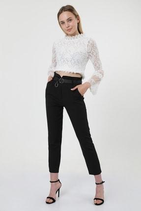 MD trend Kadın Siyah Bel Detaylı Kemerli Yüksek Bel Klasik Pantolon