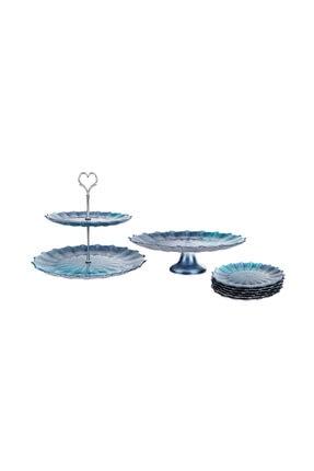 Karaca Pari Mavi 8 Parça 6 Kişilik Tatlı Kutu/pasta Takımı
