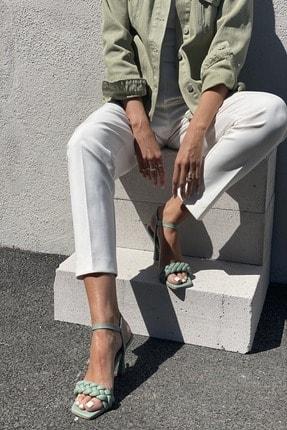 İnan Ayakkabı Kadın Yeşil Bilekten Tokalı Örgülü Topuklu Ayakkabı