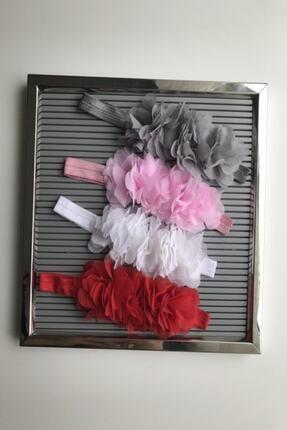 cici bandana Kız Bebek Çiçekli Bant Set 4'lü