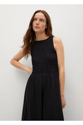MANGO Woman Kadın Siyah Büzgülü Midi Boy Elbise