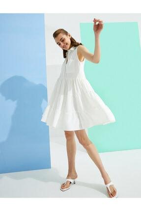Koton Kadın Beyaz Kolsuz Gömlek Yaka Elbise