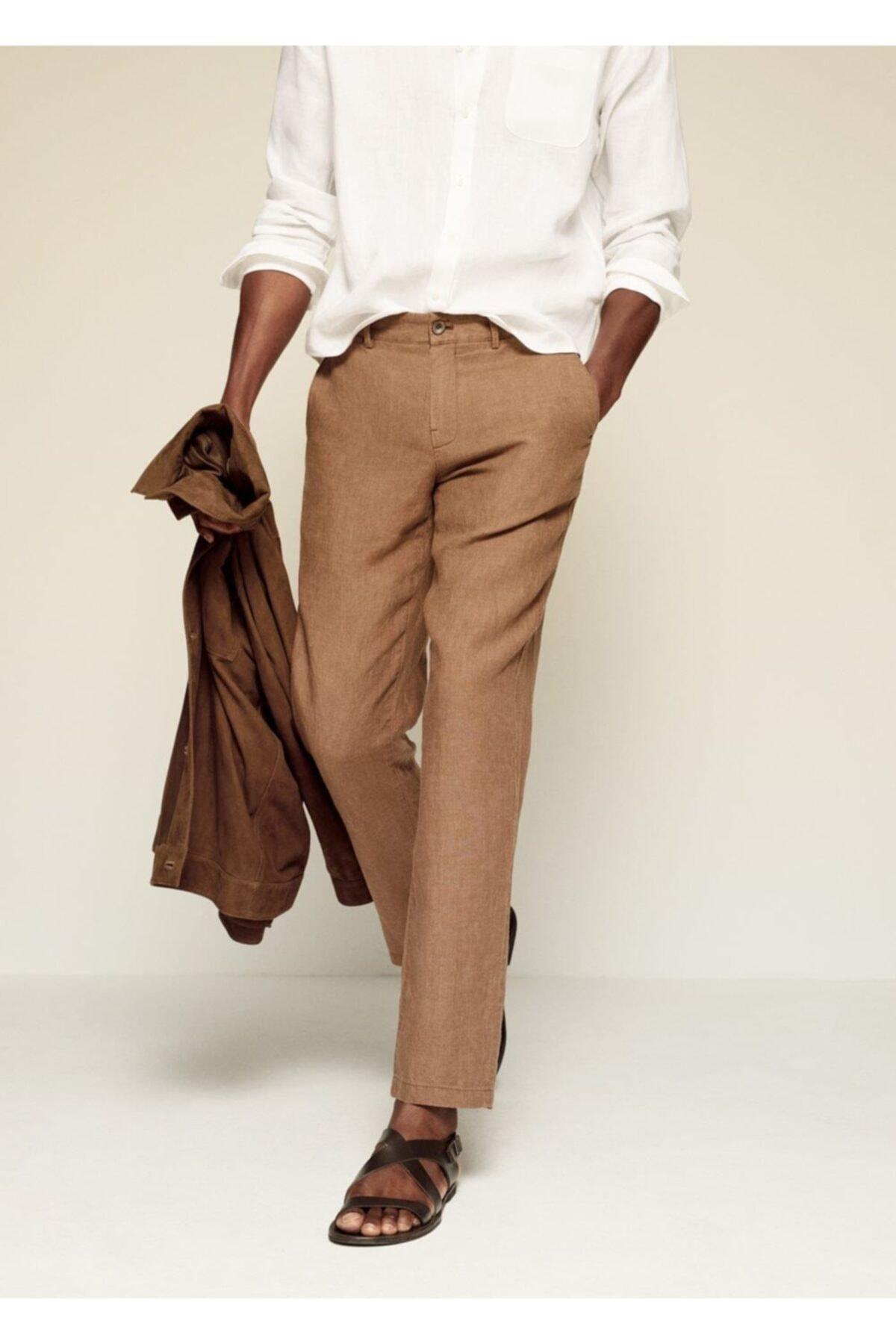 MANGO Man Erkek Kahverengi Dar Kesimli Keten Pantolon 1